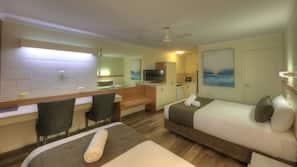 Pillow-top beds, desk, laptop workspace, iron/ironing board