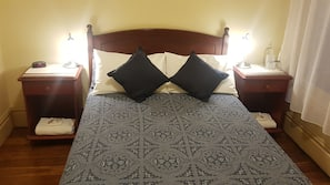 Premium bedding, desk, laptop workspace, free WiFi