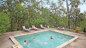 Outdoor pool, pool loungers