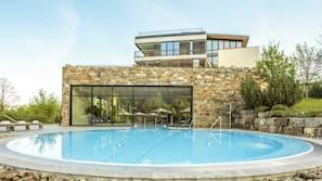 Indoor pool, outdoor pool, open 7:00 AM to 9:00 PM, pool umbrellas