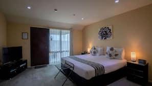 Premium bedding, laptop workspace, soundproofing, iron/ironing board