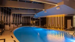 Indoor pool, open 7:00 AM to 9:00 PM, sun loungers
