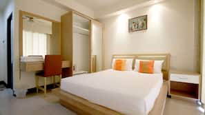 Luxe beddengoed, een minibar, een kluis op de kamer, extra bedden