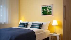 Premium bedding, memory foam beds, blackout drapes, soundproofing