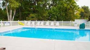 Seasonal outdoor pool, open 9 AM to 9 PM, sun loungers