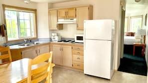 Mini-fridge, microwave, freezer