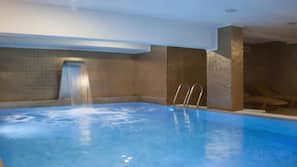 Indoor pool, outdoor pool, open 9:00 AM to 10:00 PM, pool loungers