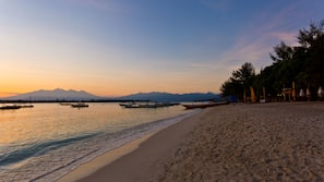 On the beach, white sand, scuba diving, snorkelling