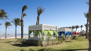Private beach, free beach shuttle, beach cabanas, sun-loungers
