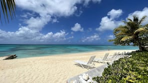 On the beach, white sand, snorkeling