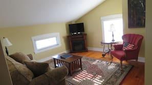 LED TV, fireplace
