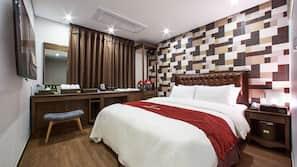 Premium bedding, down duvet, soundproofing, free WiFi