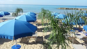 Sun-loungers, beach umbrellas