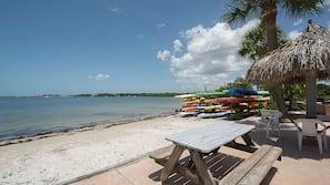 Private beach, beach towels, beach volleyball, sailing
