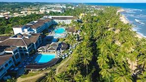 10 outdoor pools, pool umbrellas, pool loungers