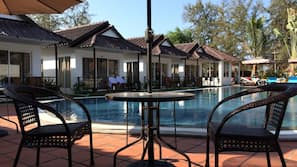 Outdoor pool, open 6:00 AM to 9:00 PM, pool umbrellas, sun loungers