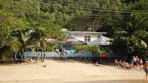 On the beach, sun loungers, beach bar