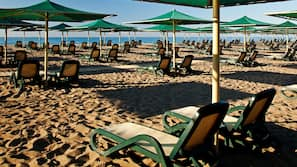 Private beach, beach cabanas, sun loungers, beach umbrellas
