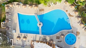 2 outdoor pools, open 9:00 AM to 6:00 PM, pool umbrellas, pool loungers