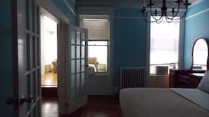 Premium bedding, down duvet, memory foam beds, iron/ironing board