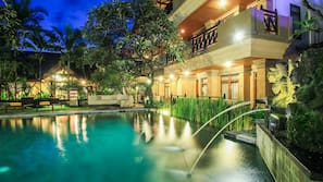 2 outdoor pools, open 7:30 AM to 9:30 AM, pool umbrellas, pool loungers