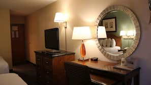 Desk, blackout drapes, soundproofing, iron/ironing board