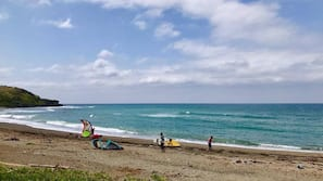 Private beach, white sand, sun loungers, snorkeling