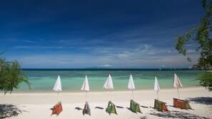 Plage à proximité, sable blanc, navette pour la plage, pêche sur place