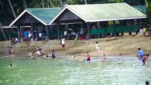On the beach, beach volleyball, beach bar