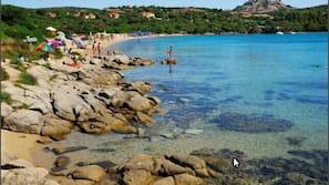 On the beach, sun-loungers, beach umbrellas, snorkelling