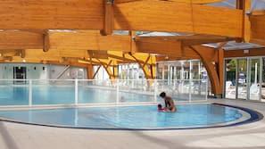 Seasonal outdoor pool, a lap pool, pool loungers