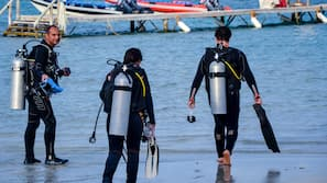 Plage, plongée sous-marine, snorkeling, beach-volley
