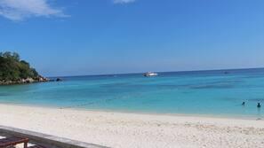 On the beach, scuba diving