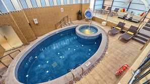 2 indoor pools, pool loungers