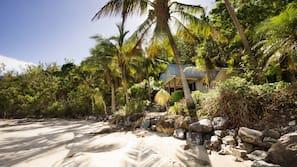 On the beach, sun loungers, beach towels, beach massages