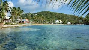 On the beach, sun loungers, beach towels, snorkeling