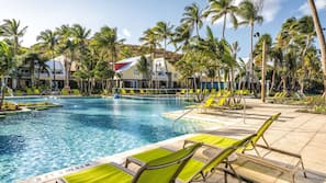 2 outdoor pools, open 8:00 AM to 8:00 PM, pool umbrellas, pool loungers