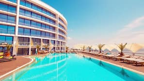 3 outdoor pools, open 8:00 AM to 7:00 PM, pool umbrellas, sun loungers