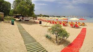 Beach nearby, beach towels, beach volleyball