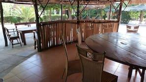 Outdoor pool, a natural pool, pool umbrellas, pool loungers