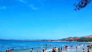 On the beach, beach bar, motor boating