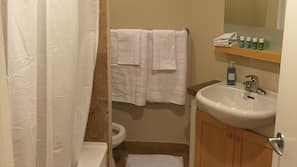 Combined shower/bathtub, hair dryer