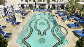 7 outdoor pools, pool cabanas (surcharge), pool loungers