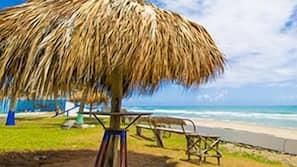 Playa privada, tumbonas, windsurf y surf