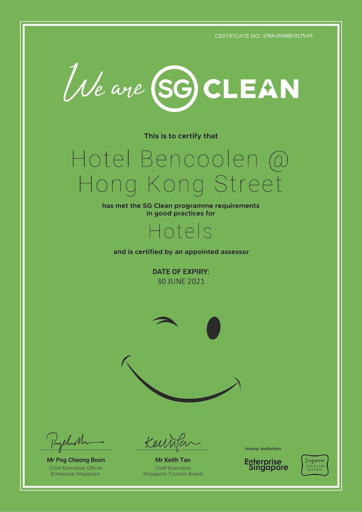 Cleanliness standards, Hotel Bencoolen@Hong Kong Street