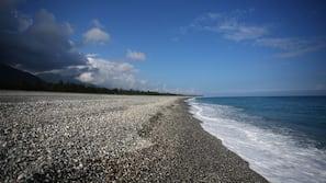 在海灘附近、黑沙