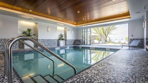 Indoor pool, open 11:00 AM to 9:00 PM, sun loungers