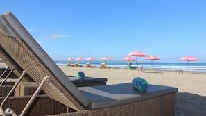 Beach nearby, white sand, free beach shuttle, sun-loungers
