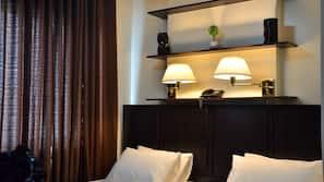 Premium bedding, pillow-top beds, desk, soundproofing