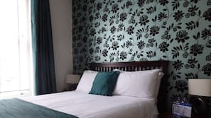 Premium bedding, individually furnished, blackout curtains